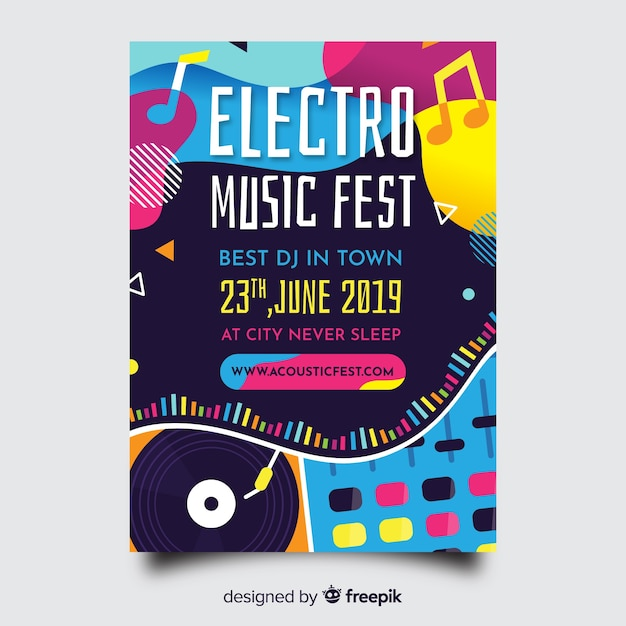 Abstract music festival poster Vector | Free Download