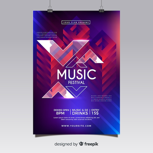 Abstract music festival poster Free Vector