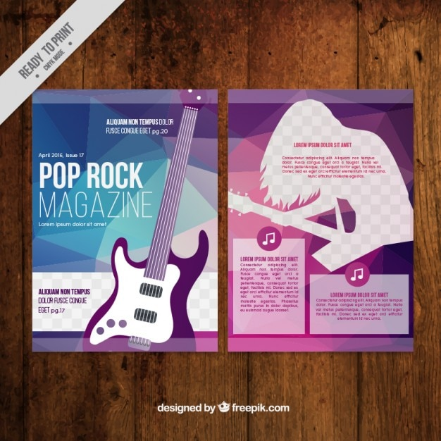 Abstract music magazine with a guitar Free Vector