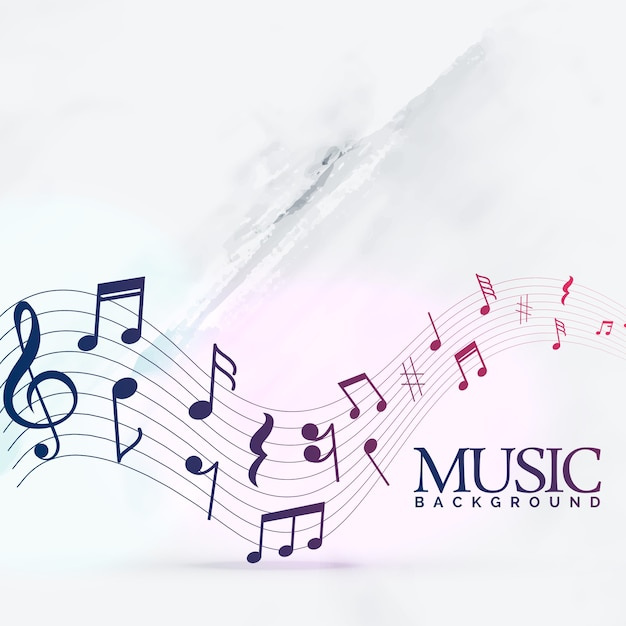 Abstract music notes wave background Free Vector