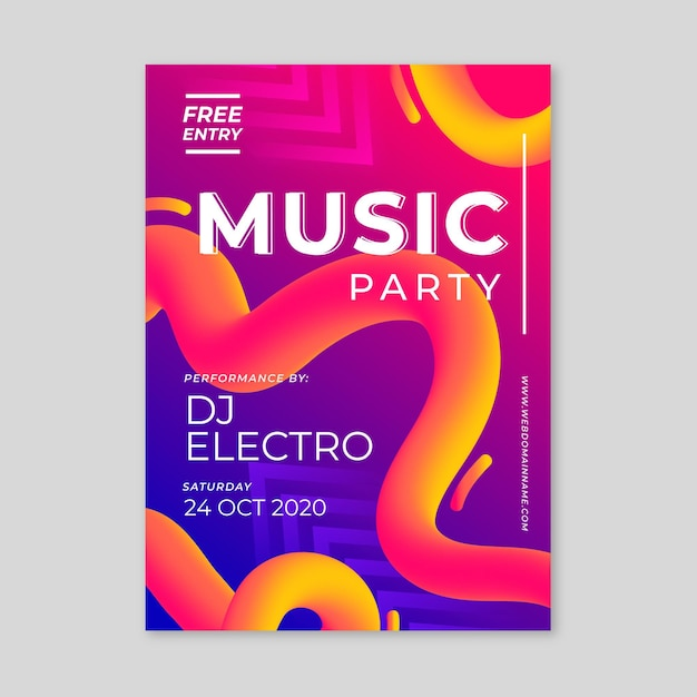Abstract music parte poster template Free Vector
