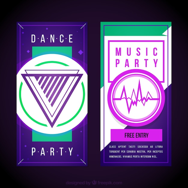 Abstract music party brochures Premium Vector