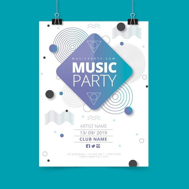 Abstract music party poster template Free Vector