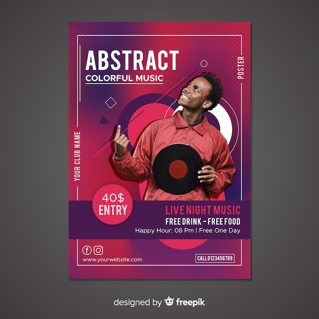 Abstract music poster template with photo Free Vector