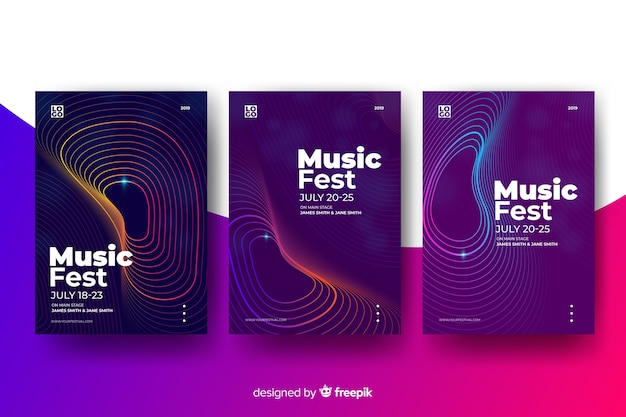 Abstract music poster template Free Vector