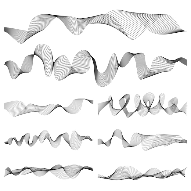 Abstract music sound waves pulse vector set Premium Vector
