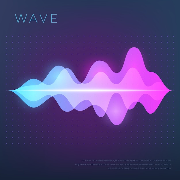 Abstract music with sound voice audio wave, equalizer waveform Premium Vector