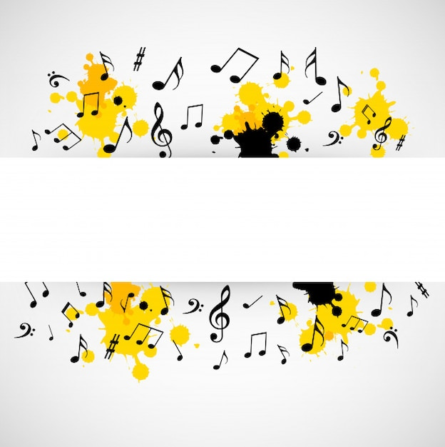 Abstract musical background with blank sign Premium Vector