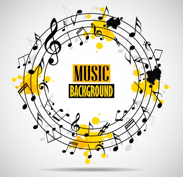 Abstract musical background with notes Premium Vector