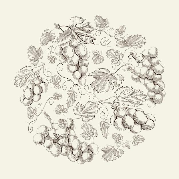 Абстрактная натуральная цветочная винтажная композиция с гроздьями винограда в рисованном стиле на свете Бесплатные векторы