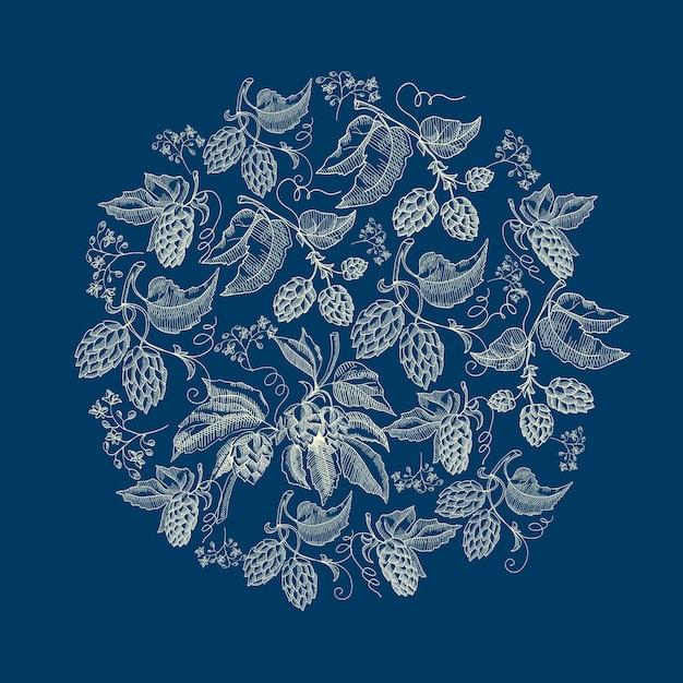 Абстрактный природный круглый венок синем фоне Бесплатные векторы