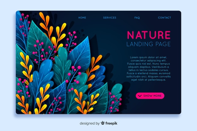Abstract nature landing page template Free Vector