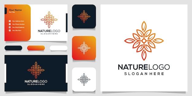 抽象的な自然のロゴのデザインテンプレートと名刺 Premiumベクター