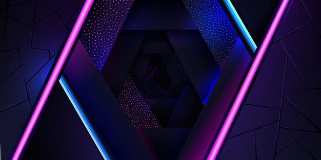 The abstract neon background with a blue and pink light line and a dots texture. Premium Vector