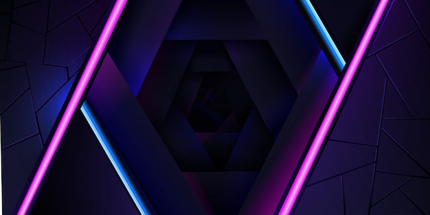 The abstract neon background with a blue and pink light line and a texture. Premium Vector