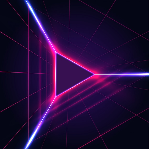 Abstract neon glowing triangle play icon sign on dark purple background with laser grid. Premium Vector