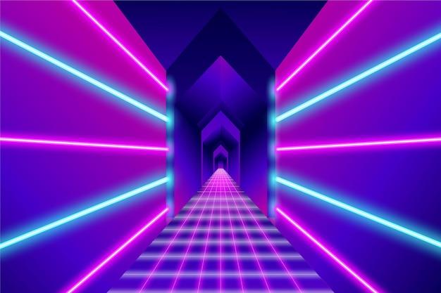 抽象的なネオン廊下のライトの背景 無料ベクター