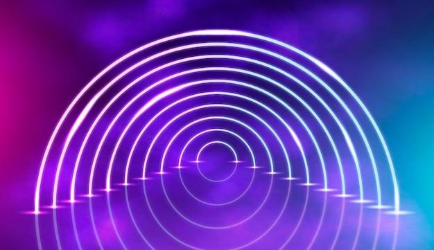 半円で抽象的なネオンライトの背景 無料ベクター