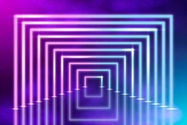 半分の正方形の抽象的なネオンライトの背景 無料ベクター