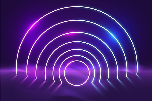 Фон абстрактный неоновые огни Бесплатные векторы