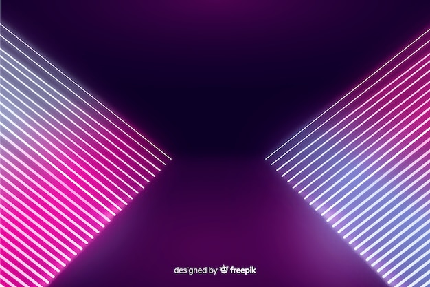 Abstract neon lights stage background Free Vector