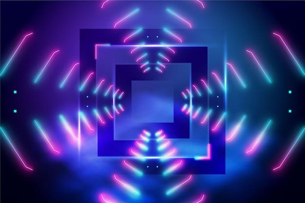 Абстрактные неоновые огни с квадратом на среднем фоне Бесплатные векторы