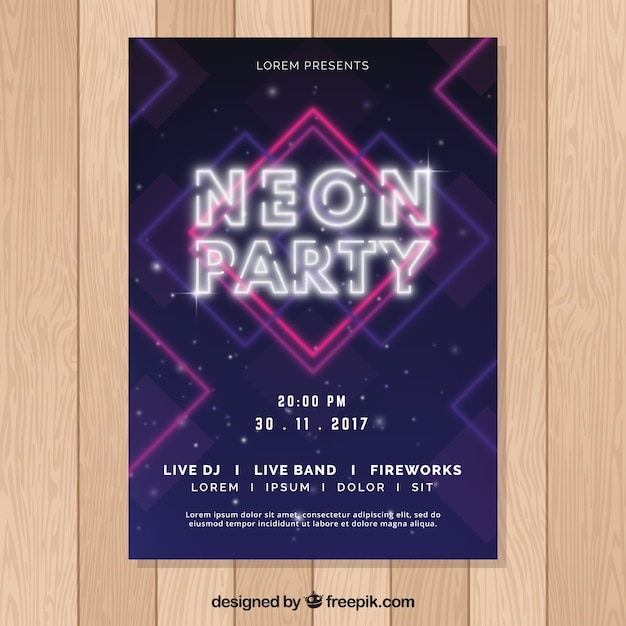 Abstract neon party poster template Free Vector