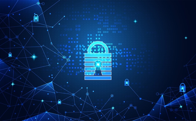 Abstract network protection cyber security and technology Premium Vector