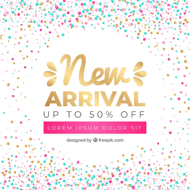 Abstract new arrival background in confetti style Free Vector