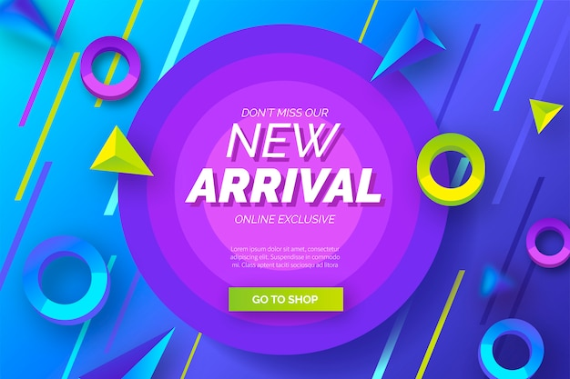 Abstract new arrival background with modern shapes Free Vector