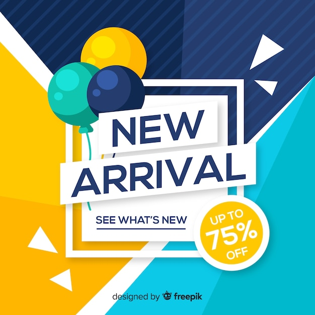 Abstract new arrival composition with flat design Free Vector