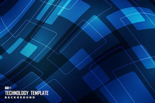 Abstract new tech gradient blue of geometric design decorative background. Premium Vector