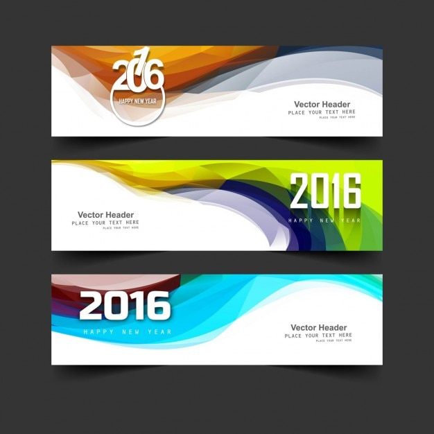 Abstract new year 2016 headers