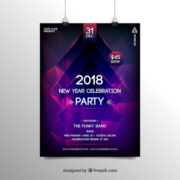 abstract new year 2018 party flyer poster template in purple free vector