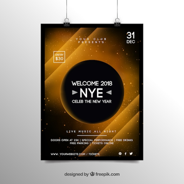 abstract new year 2018 party flyer poster template in yellow free vector