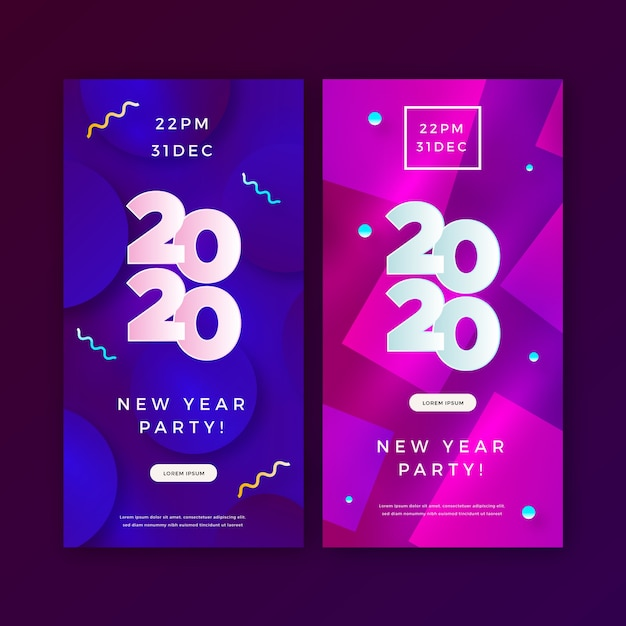 Abstract new year 2020 party banners set Free Vector
