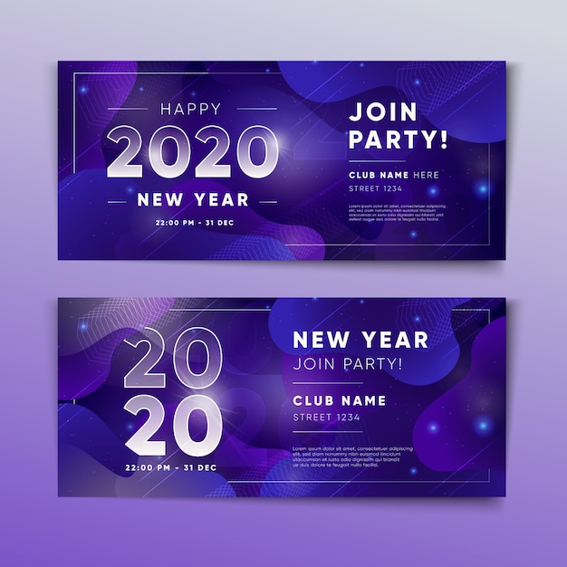 Abstract new year 2020 party banners template Free Vector