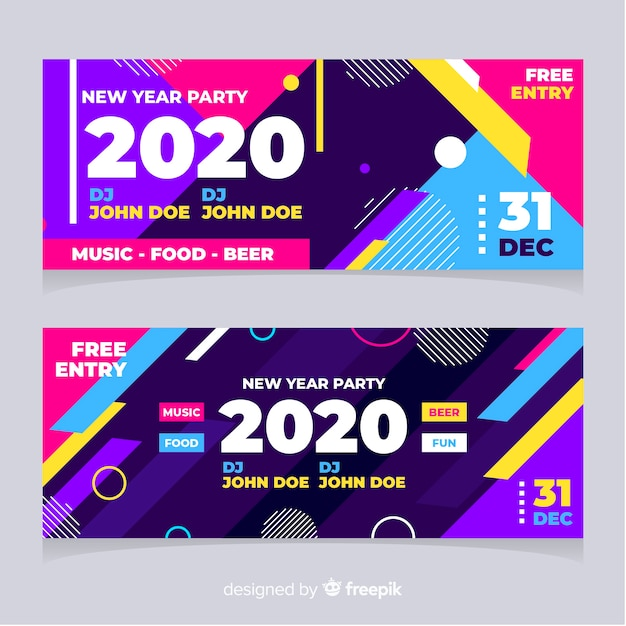 Abstract new year 2020 party banners with memphis effect Free Vector