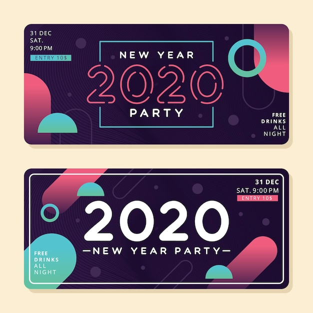 Abstract new year 2020 party banners Free Vector