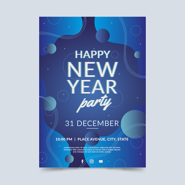 Abstract new year 2020 party flyer template Free Vector