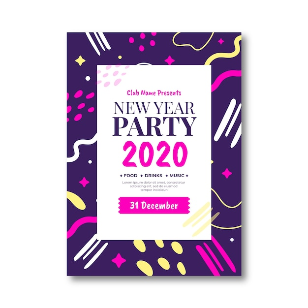Abstract new year 2020 party poster template Free Vector