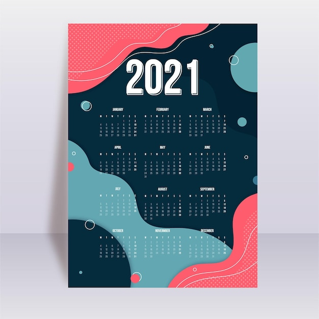 Abstract new year 2021 calendar template Free Vector
