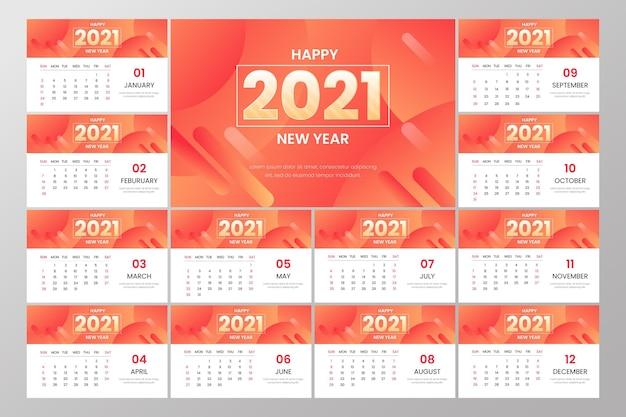 초록 새해 2021 달력 무료 벡터