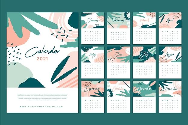 Calendario astratto del nuovo anno 2021 Vettore gratuito
