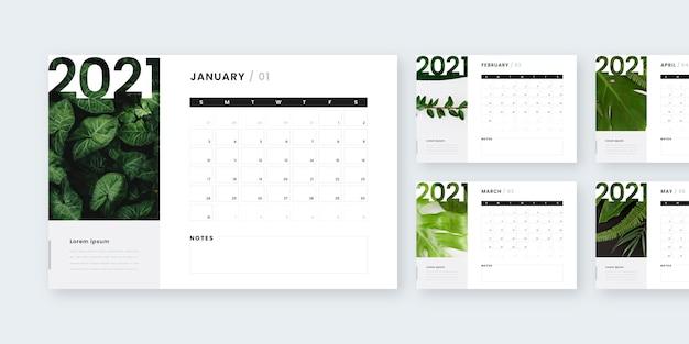 Абстрактный календарь новый год 2021 Бесплатные векторы