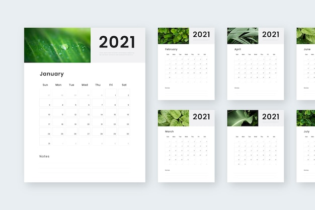 Abstract new year 2021 calendar Free Vector