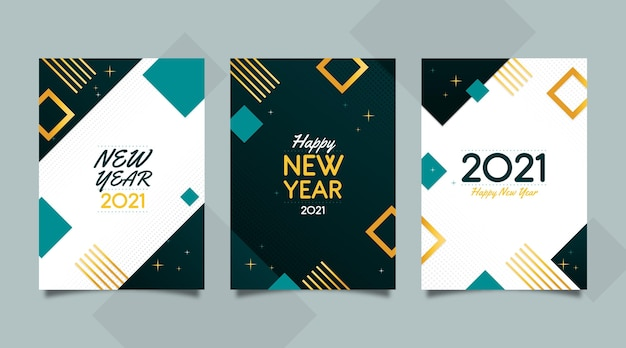 抽象新年2021カード 無料ベクター