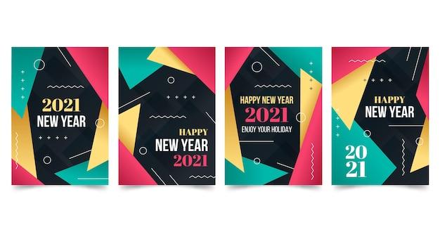 초록 새해 2021 카드 무료 벡터