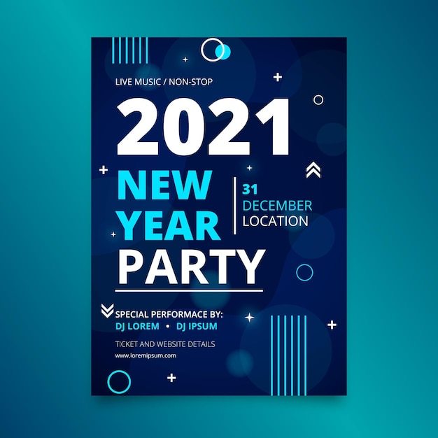 Abstract new year 2021 party poster template Free Vector