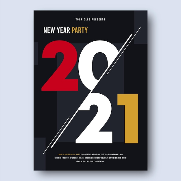 Abstract new year 2021 party poster template Premium Vector